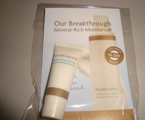 Picture of my Bare Escentuals Rareminerals Purely Nourishing Facial Moisturizer Free Sample 300x248